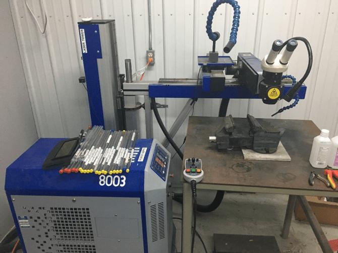 Micro-laser welding setup