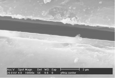 Fig 6: The Cross-Section of the Central Tube Part. The Yttria Layer Thickness is ~0.75µm